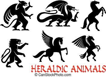 heráldico, mítico, animales, emblemas