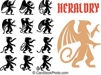heráldico, mítico, animales, iconos, conjunto