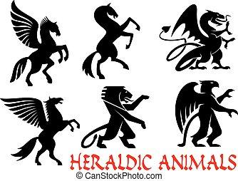 heráldico, mítico, animales, silueta, emblemas