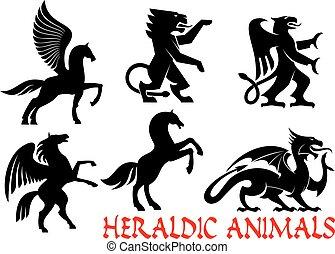 heráldico, mítico, animales, vector, iconos
