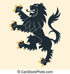 heráldico, negro, león