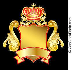 heráldico, protector, con, corona