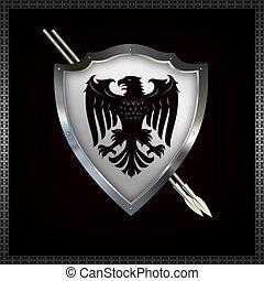 heráldico, protector, y, spears.