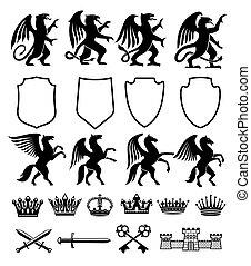 heráldico, real, animales, vector, aislado, iconos