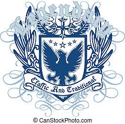 heráldico, real, pájaro, emblema