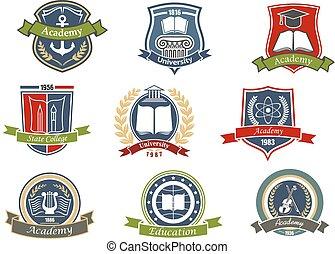 heráldico, universidad, colegio, emblemas, academia