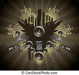 heráldico, vector, emblema, musical