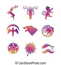 heráldico, vector, iconos, con, animales