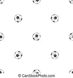 herék, motívum, seamless, fekete, fehér, futball