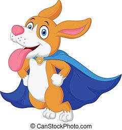 herói, caricatura, cachorro voador, super