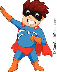 herói super, caricatura, menino