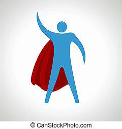 herói super, caricatura, silueta, icon., abstratos