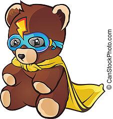 herói super, caricatura, urso, pelúcia