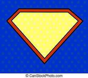 herói super, escudo, em, arte pnf, estilo