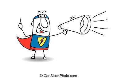 herói, super, megafone