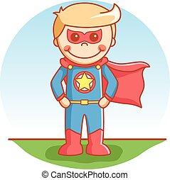 herói super, menino