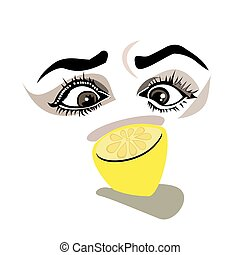 her eyes are looking at a lemon