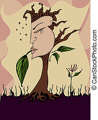 Her Nature - Woman's face on a tree - symbols of feminine ...