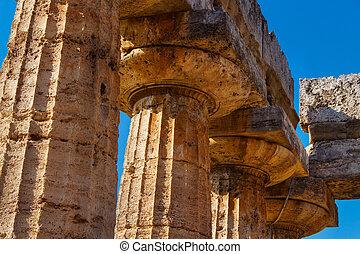 hera-ii., detail, paestum, chrám, sloupec, itálie, řečtina, dórský