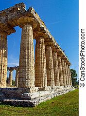 hera-ii., paestum, templo, italia, griego