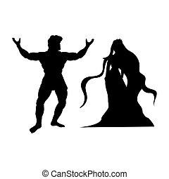 heracles, silhuett, nymf, naiad, fantasi, mytologi