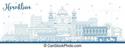 heraklion, contour, grèce, horizon ville, crète, bâtiments., bleu