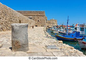 Heraklion harbour and castle. Crete, Greece