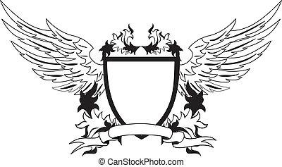 heraldic, グランジ, 保護, 翼