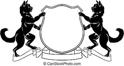 heraldic, コート, 頂上, 腕, ネコ, 保護