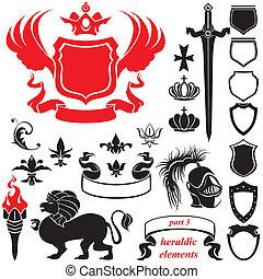 heraldic, セット, シルエット, 要素
