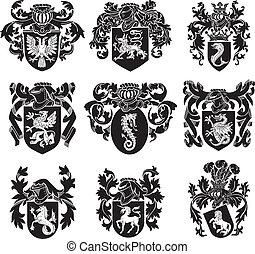 heraldic, セット, シルエット, no1
