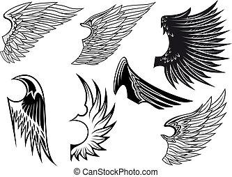 heraldic, セット, 隔離された, 翼