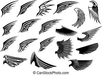 heraldic, セット, 鳥, 翼