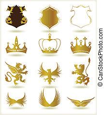 heraldic, ベクトル, コレクション, 金, elements.