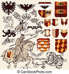 heraldic, ベクトル, eleme, コレクション