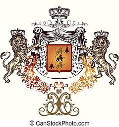 heraldic, 国王の王冠, デザイン, 保有物, ライオン, shield.eps