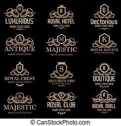 heraldic, 皇家, 豪華, 冠, 理念, 黃金