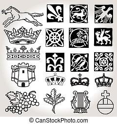 heraldic, 符號, 以及, 元素