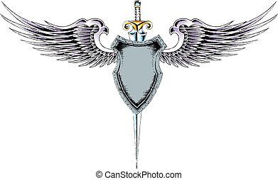 heraldic, 紋章, 保護, クラシック