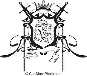 heraldic, 頂上, 頭, ライオン, tattoo5