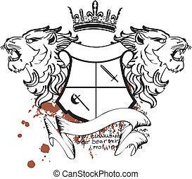 heraldic, 頂上, 頭, ライオン, tattoo7