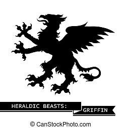 heraldic, 黒, グリフィン