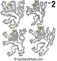 heraldic, 2, leões