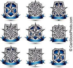 heraldic,  3D, 有光澤, 銀色, 圖象