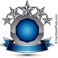 Heraldic 3d glossy blue and gray icon - can be used in web and graphic design, five-pointed silver stars placed over rounded magnificent element with elegant ribbon, clear EPS 8 vector.