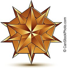 Heraldic 3d glossy icon can be used in web and graphic design, polygonal golden star, clear EPS 8 vector.
