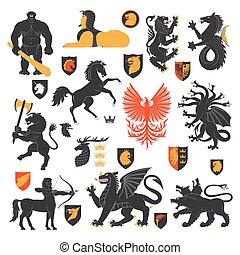 heraldic, animais, e, elementos, 2