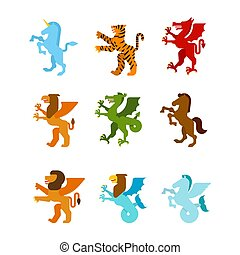 Heraldic animal set. Fantastic Beast. Monster for coat of arms. Heraldry design element. Unicorn, tiger and dragon. Horse, winged lion and griffin. Hippocampus and Sea griffin.