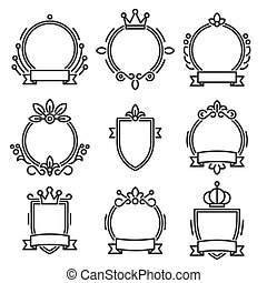 Heraldic Baroque Frame Set on White Background. Line Style Vector