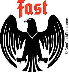 Heraldic black eagle vector icon